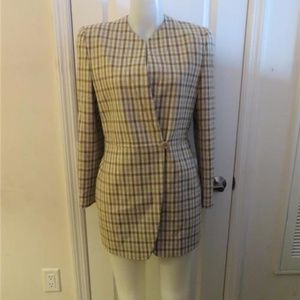 GIORGIO ARMANI IVORY,BROWN,GRAY PLAID BLAZER 40/4